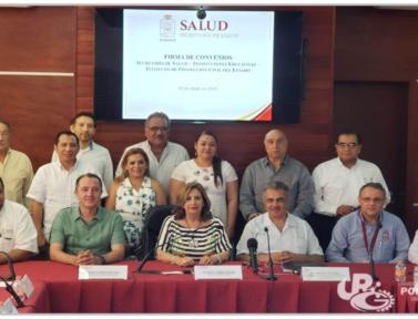 Firma de convenio Secretaría de salud – instituciones educativas – instituto de protección civil del estado