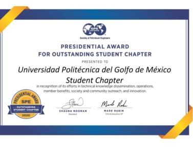 Reconocimiento internacional otorgado al Capítulo Estudiantil de la UPGM